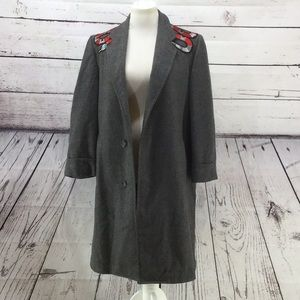 Wool Trench Coat with Snake Embroidery